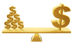 Value of dollars. Golden dollar and dollars symbol on balance Stock Photo