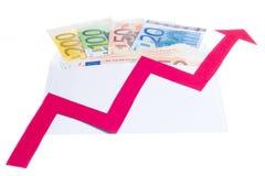 Value of euro increasing Royalty Free Stock Photo