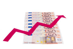Value of euro increasing Royalty Free Stock Photography