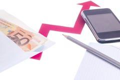 Value of euro increasing Royalty Free Stock Image