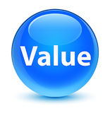 Value glassy cyan blue round button Royalty Free Stock Photography