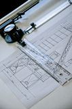 The value of handmade work of the past. A technical drawing of a project made entirely by hand on an old table-top desk, ingenuity royalty free stock photos
