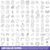 100 value icons set, outline style Royalty Free Stock Photography