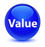 Value glassy blue round button Stock Image