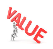 VALUE metaphor and teamwork. Three person with VALUE 3d text Royalty Free Stock Photos