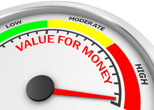 Value for money. Conceptual meter to maximum, 3d rendering Royalty Free Stock Images