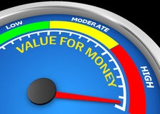 Value for money. Conceptual meter to maximum, 3d rendering Royalty Free Stock Photos