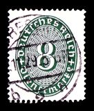 Value 8 in an oval, Straw Hat Pattern serie, circa 1927. MOSCOW, RUSSIA - FEBRUARY 9, 2019: A stamp printed in German Realm shows Value 8 in an oval, Straw Hat vector illustration