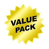 Value Pack Sign. Yellow value pack sign - web button - internet design Stock Photography