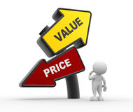 Value or price. 3d people - man, person and aroows. Value or price stock illustration