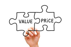 Value Price Puzzle Concept. Hand sketching Value Price puzzle concept with black marker on transparent wipe board Royalty Free Stock Photos