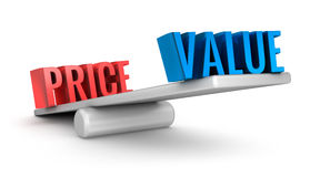 Value Price scale 3d word concept Stock Photography