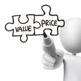 Value and price words written by 3d man Royalty Free Stock Image