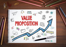 Value Proposition, Business Concept. Notebooks, pen and colored Stock Image