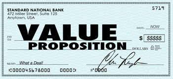Value Proposition Check Money Selling Buying Benefits Products Stock Photo
