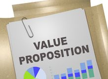 VALUE PROPOSITION concept. 3D illustration of VALUE PROPOSITION title on business document Stock Images