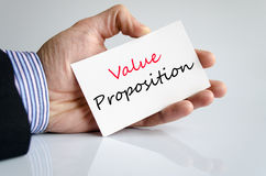 Value proposition text concept royalty free stock images