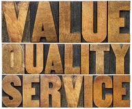 Value, quality, service letterpress typography Stock Photography