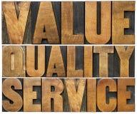 Value, quality, service letterpress typography Stock Photography