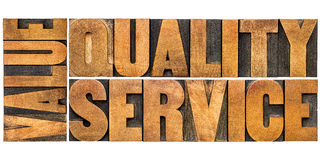 Value, quality, service typography Royalty Free Stock Image