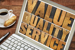 Value, quality, service typography Royalty Free Stock Images