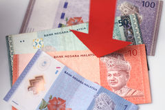 Value of the ringgit malaysia falling Stock Photography