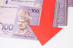 Value of the ringgit malaysia falling Royalty Free Stock Photo