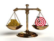 The value of Target. On a golden balance, are compared in a target symbol and a lot of gold bullion, computer-generated conceptual image Stock Photography