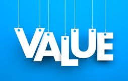 Value. Text hanging on the rope Stock Photos