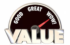 Value Top Best High Good Buy Purchase Speedometer 3d Words Royalty Free Stock Photo