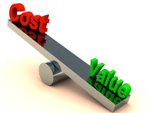 Value vs cost. Value outweighing cost on a chrome balance on white surface
