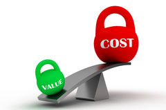 VALUE vs COST. Value outweighing cost. Value and cost in the form of weights on the balance Royalty Free Stock Photo