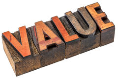 Value word abstract in wood type Royalty Free Stock Photography