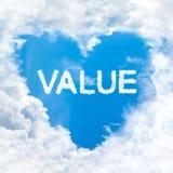 Value word on blue sky Stock Photo