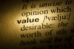 Value. Word Value in a dictionary stock photography