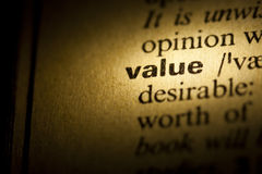 Value. Word Value in a dictionary stock photos
