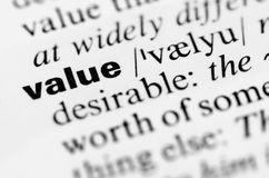 Value word in highlighted in dictionary, business stock photo