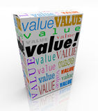 Value Word on Package Box Best Price Quality Product. The word Value on a product box to symbolize or advertise it is the best package in terms of quality, price Royalty Free Stock Photo