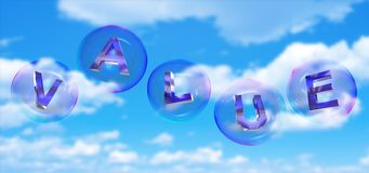 The value word in bubble. The value word in soap bubble on blue sky background,3d rendered Stock Photos