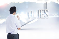 Values against white steps leading to closed door Royalty Free Stock Photo