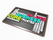 Values,business,core,3d,word concept Stock Images