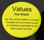Values Definition Button Showing Principles Virtue And Morality. Values Definition Button Shows Principles Virtue And Morality Royalty Free Stock Photography