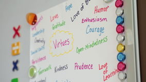Values handwritten paper sheet. Handwritten multi coloured words concept virtues stock footage