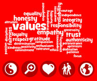 Values. Overview of values, attitude and and ethics Royalty Free Stock Photography