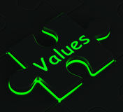 Values Puzzle Showing Moral Values Stock Photo