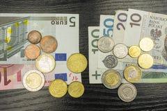 Valuta av euroet och polermedelzlotyen Arkivfoton
