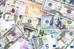 Valuta av olika länder Arkivfoto