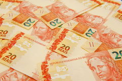 Valuta brasiliana 20 Fotografia Stock Libera da Diritti