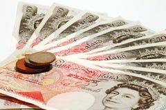 Valuta britannica & monete Fotografia Stock Libera da Diritti