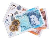Valuta BRITANNICA su fondo bianco fotografia stock